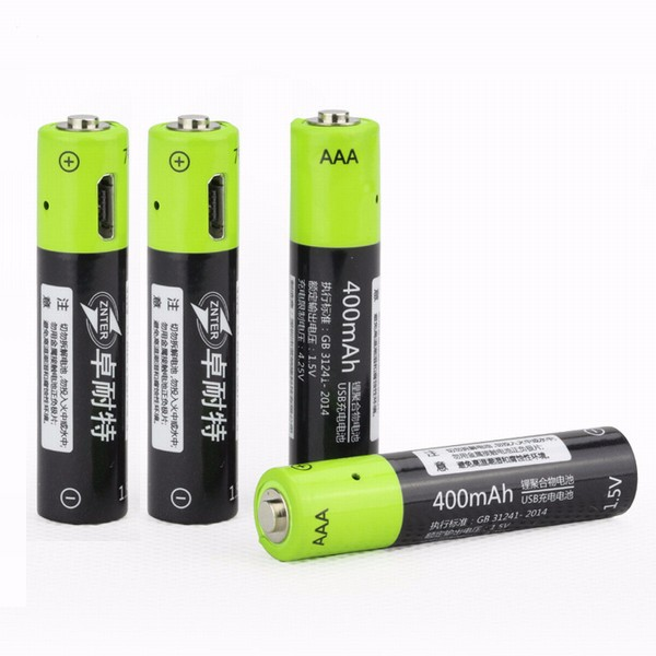 ZNTER 4 PCS S17 1.5V 400mAh USB Rechargeable AAA Lipo Battery Micro USB 10mm*45mm image