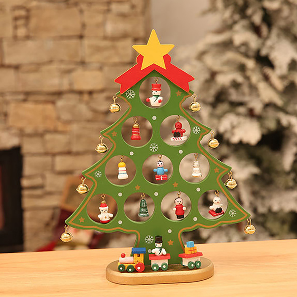 Miniature Christmas Ornaments.Us 9 66 27 Off Miniature Christmas Ornaments Wooden Mini Christmas Tree Desktop Decoration Arts And Crafts Kids Gift Christmas Decorations In