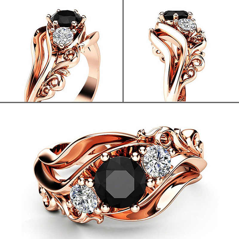 Huitan Luxury Rose Gold Color Flower Ring Zircon Inlaid Accessories Female Engagement Wedding Jewelry Ring For  Dropshipping