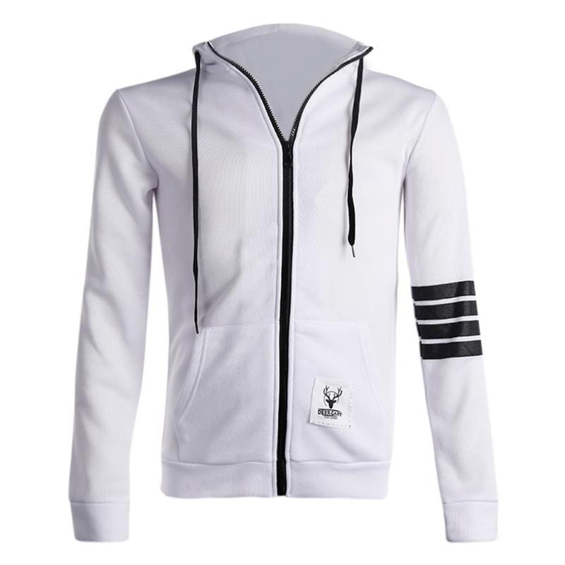 Fashion Men Hoodies Front Zipper Coat Leisure Sweatshirts Hooded Jackets