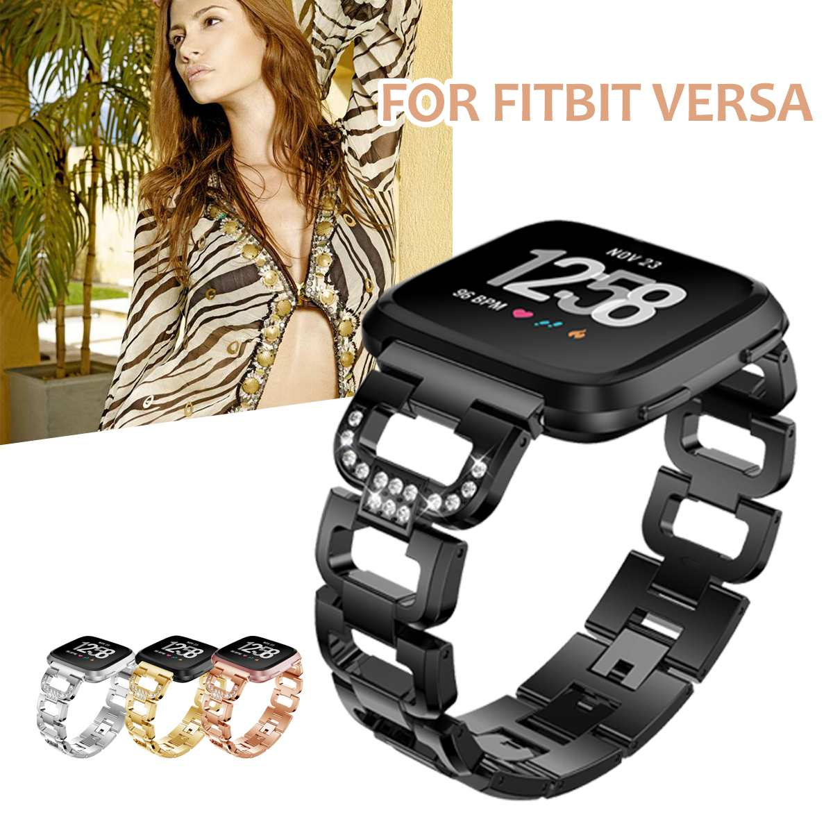 Luxury Crystal Bling Smart Watch Bands Accessories Replace for Fitbit Versa Band Stainless Steel Strap Wristbands Metal Bracelet