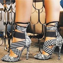 Black White Contrast Colors Fashion Women High Heels Sandals Peep Toe Lace-Up Sexy Ladies Party Shoes Summer Stilettos Sandals