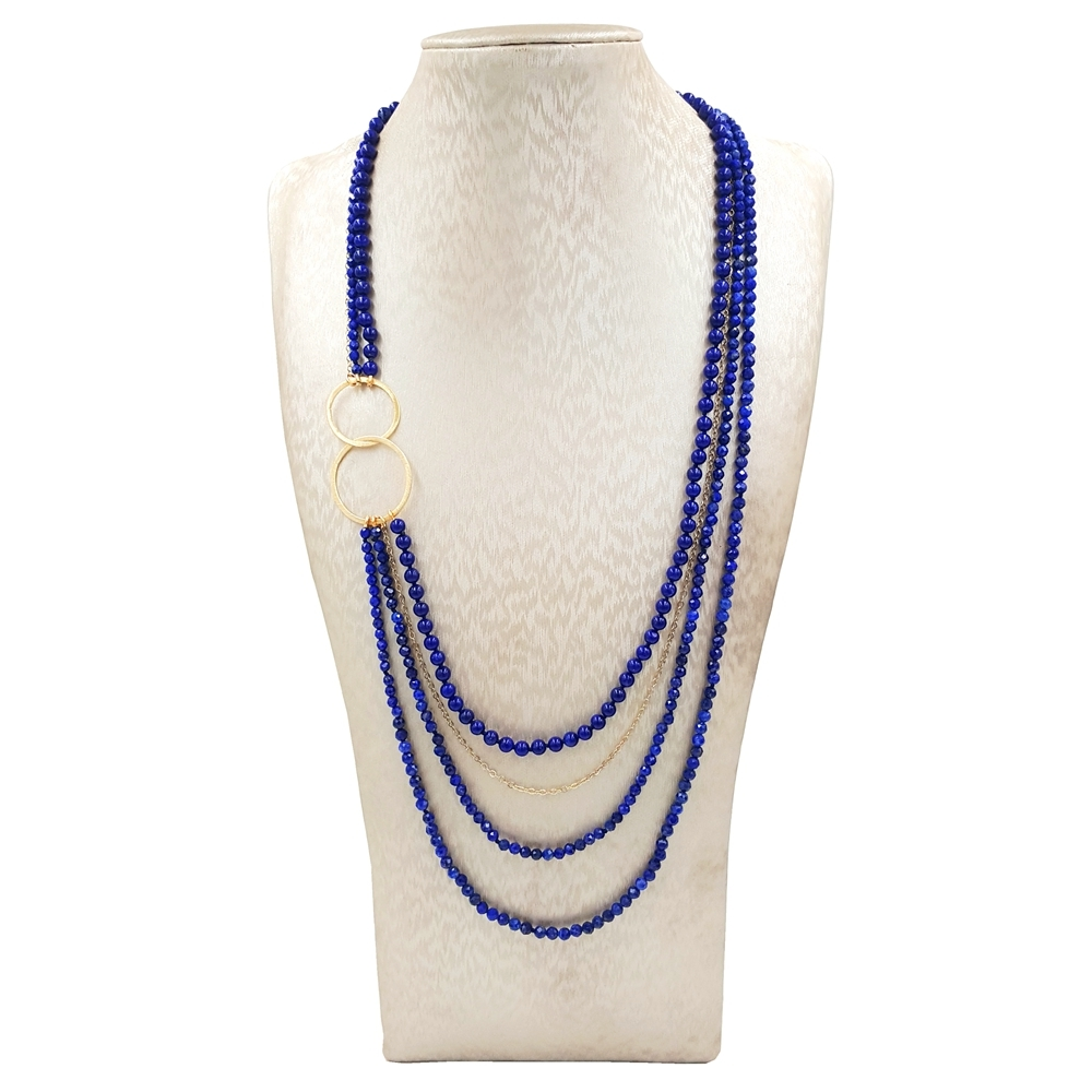 цена на LiiJi Unique Natural Lapsi Lazuli Chain 925 Sterling Silver Gold color Double Circle 4 Rows Necklace Delicate Jewelry