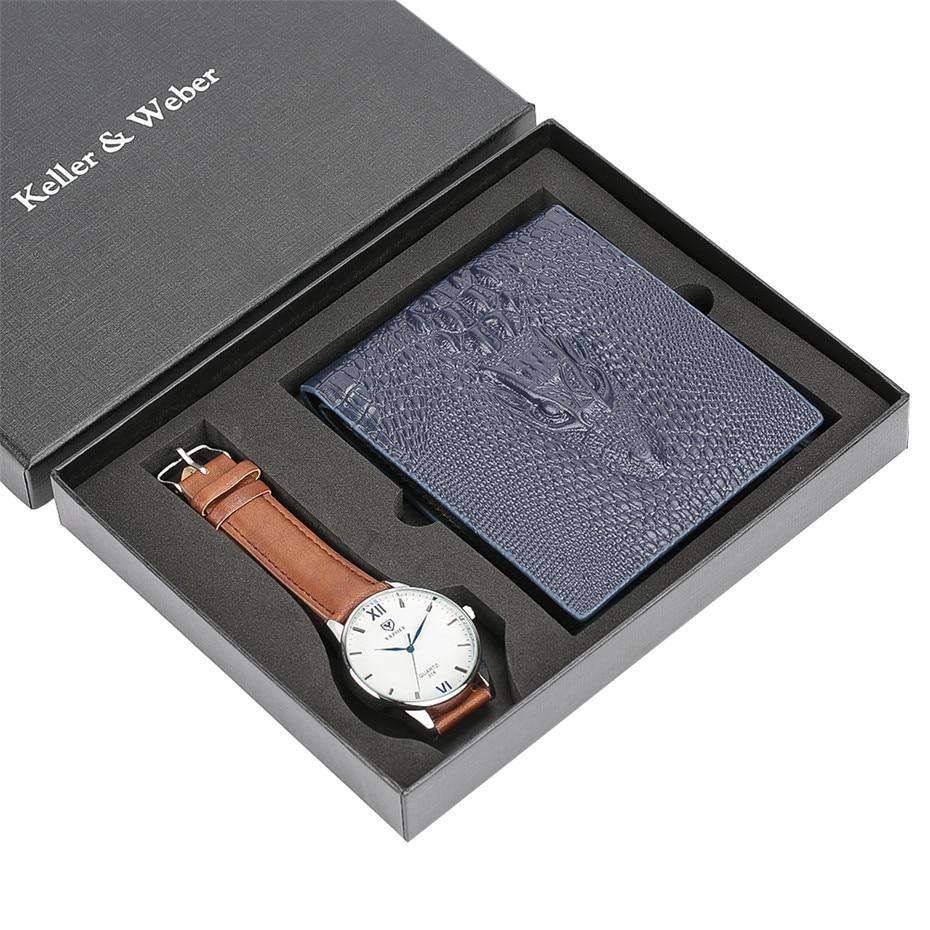 все цены на Business Watch Men Quartz Wristwatch Wallet Mens Gift Set reloj Fashion Blue Leather Wallet Casual Wrist Watches Gift Boyfriend