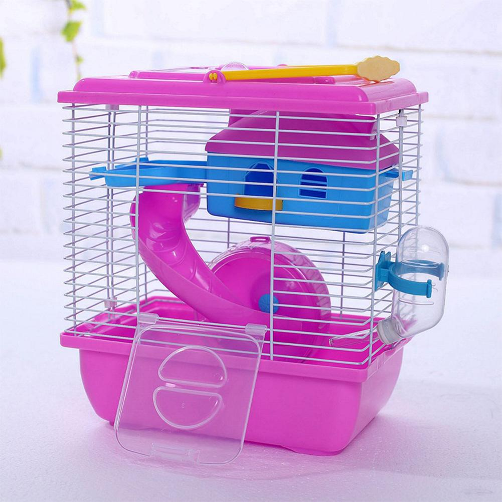 Adeeing Pet Cage Hamster Cottage With Transparent Skylight Double Layer House For Hamster Golden Hamster Pet