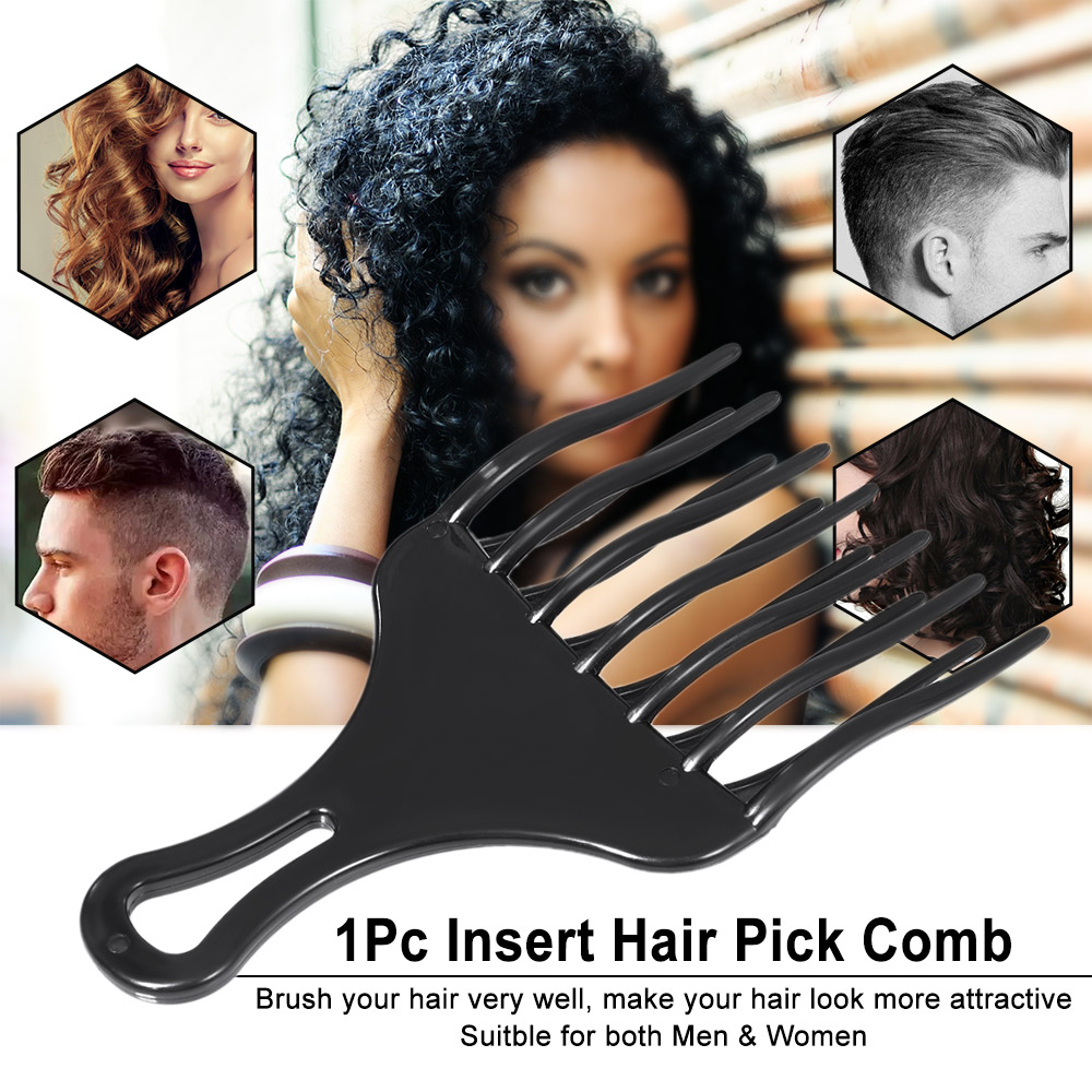 1Pc Hair Comb Insert Afro Hair Pick Comb Hair Fork Comb Plastic High & Low Gear Comb Hairdressing Styling Tool for Man Woman