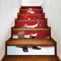 6 шт./компл. водонепроницаемые ПВХ Настенные Стикеры для лестницы Снеговик Санта Клаус Рождество пол лестница наклейки рождественские укра...