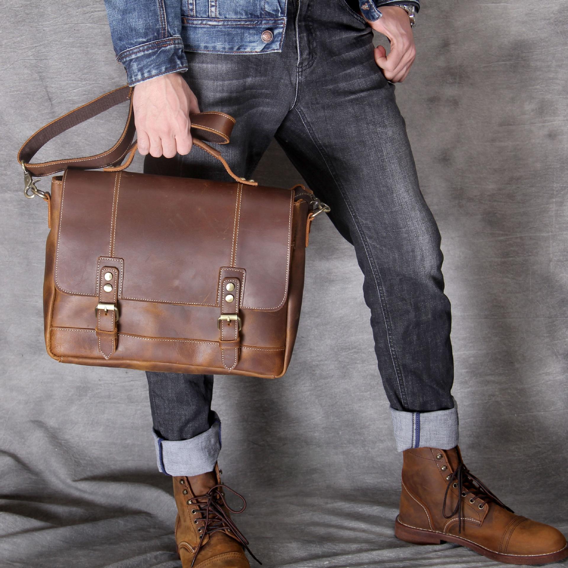 2019 New Crazy Horse Genuine Leather Men Bags Briefcases Handbag Shoulder Crossbody Bag Men Messenger Bags Leather Laptop Bag