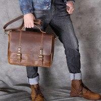 2019 новые мужские сумки из натуральной кожи Crazy horse Портфель через плечо мужские сумки через плечо кожаная сумка для ноутбука