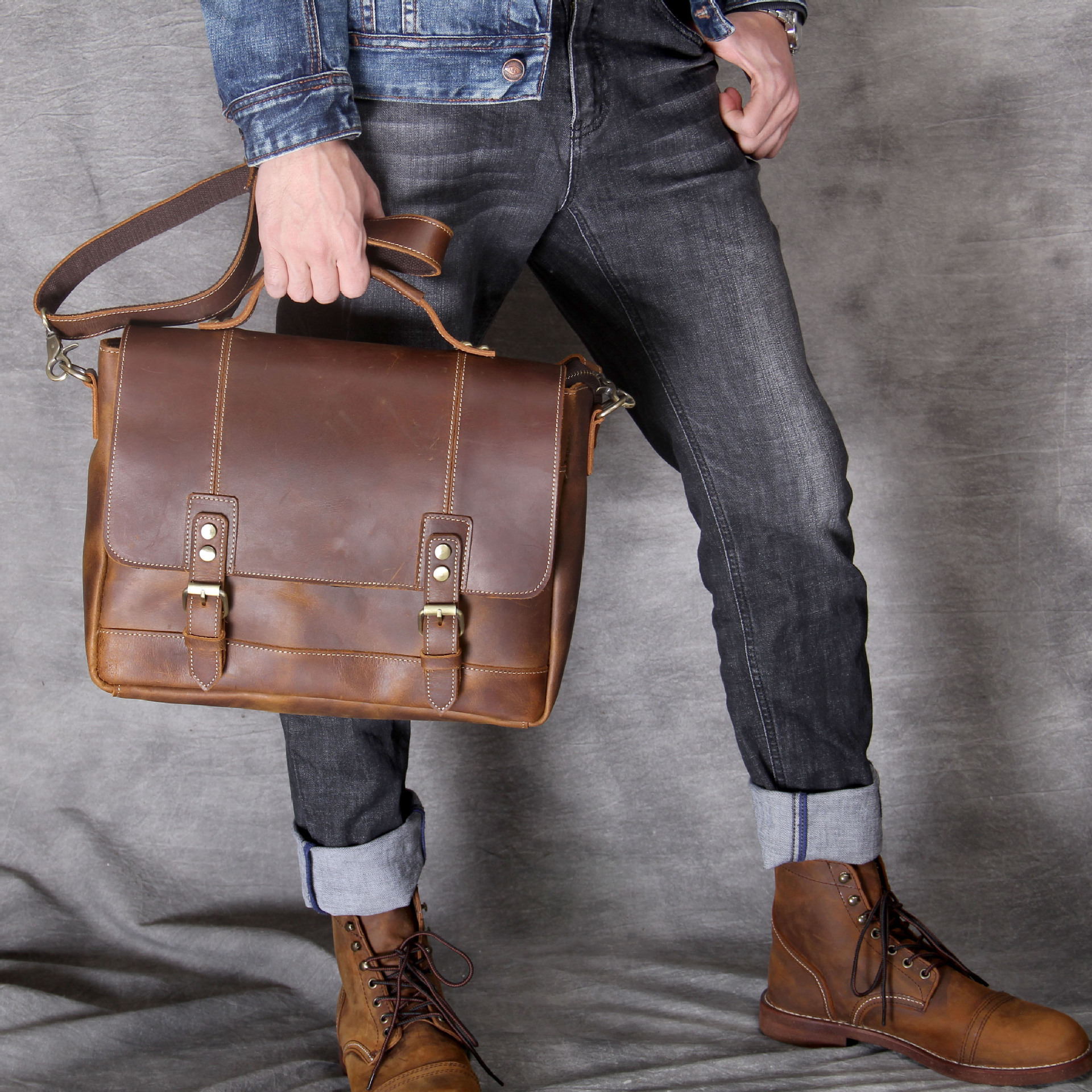 2019 New Crazy Horse Genuine Leather Men Bags Briefcases Handbag Shoulder Crossbody Bag Men Messenger Bags Leather Laptop Bag