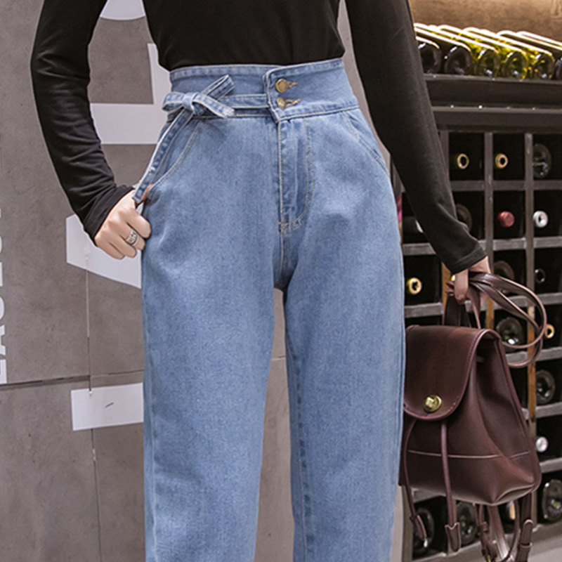 Women Jeans Denim Pants 2019 Spring Summer Fashion Women Vintage High Waist Jeans Loose Casual Pants Pants Just Demin