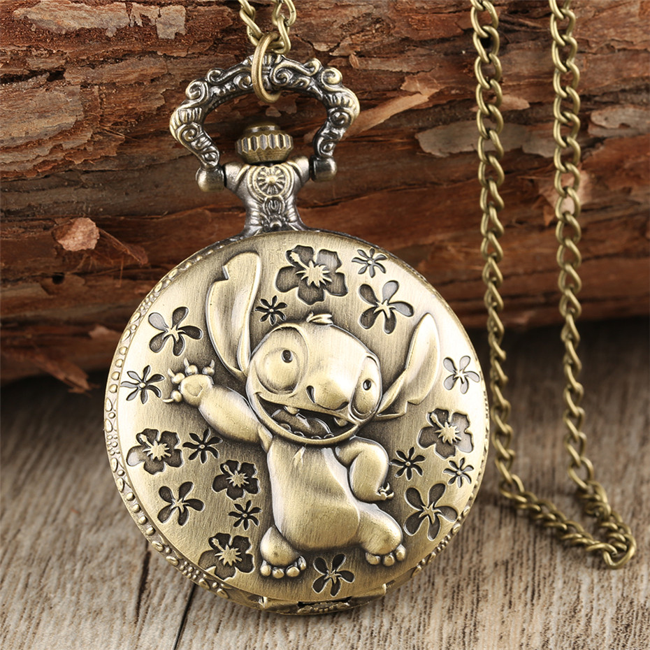 Brozne Cute Lilo & Stitch Theme Pocket Watch For Children Pendant Necklace Chain Quartz Pocket Clock Gifts For Boys Girls