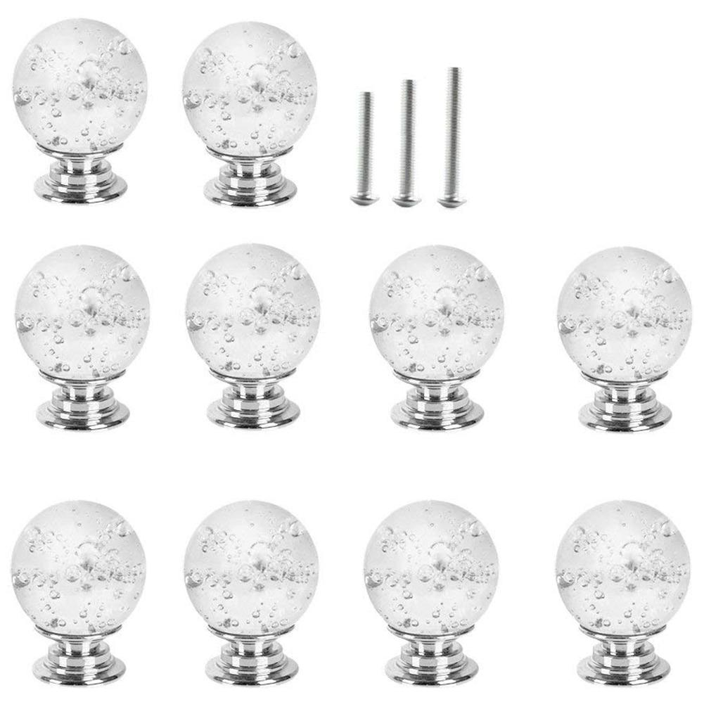 10X30 MM ясно стеклянные дверные ручки с пузырьками, дверная ручка для комода