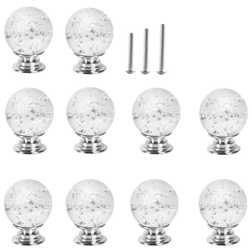 10 X 30MM Clear Glass Door Knobs With Bubbles,Door Handle Pull For Chest Of Drawers