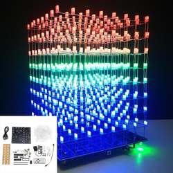 Новое приложение управление DIY wifi приложение 8x8x8 3D набор световой куб красный синий зеленый светодиодный MP3 музыка набор спектра с 3 Вт
