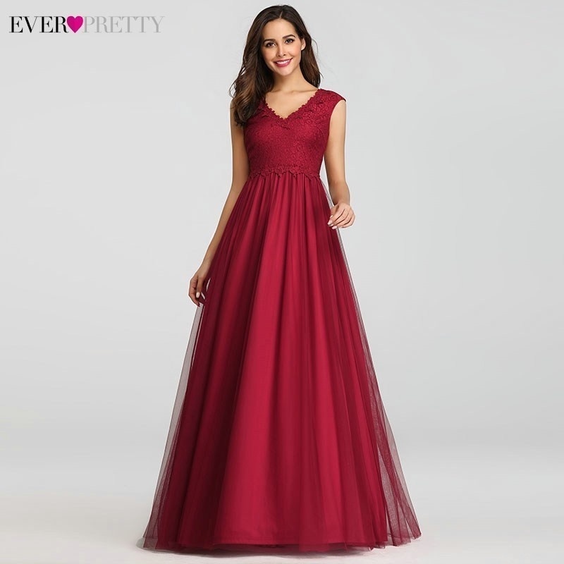 Elegant Prom Dresses Long Burgundy A-Line V-Neck Sleeveless Empire Lace Sexy Vintage Evening Gowns Women Vestidos De Gala 2019