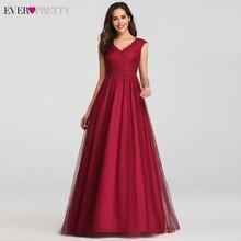 Elegant Prom Dresses Long Burgundy A-Line V-Neck Sleeveless