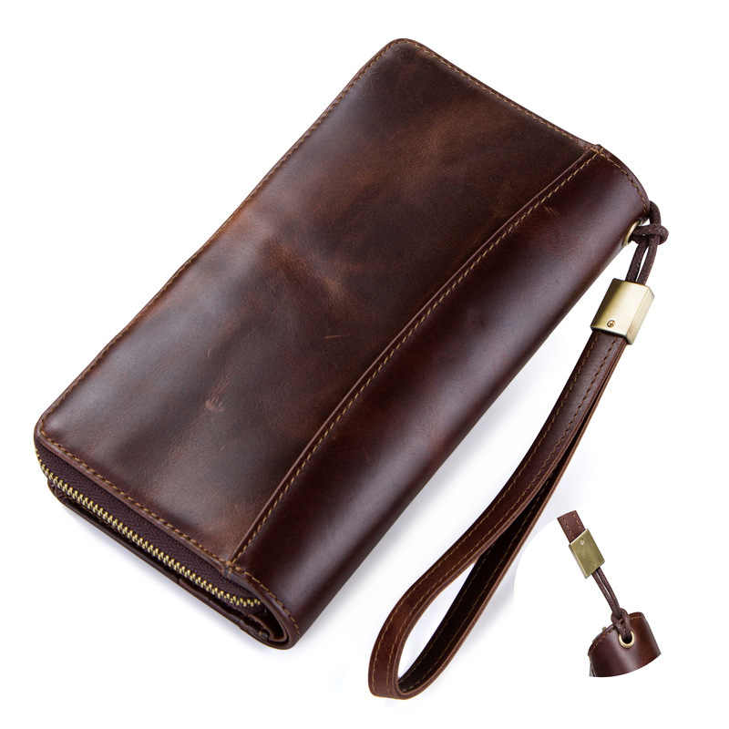 New Product Factory high quality Genuine Leather Man Wallet Crazy Horse Leather Zipper Luxury brand Package purse Free shipping