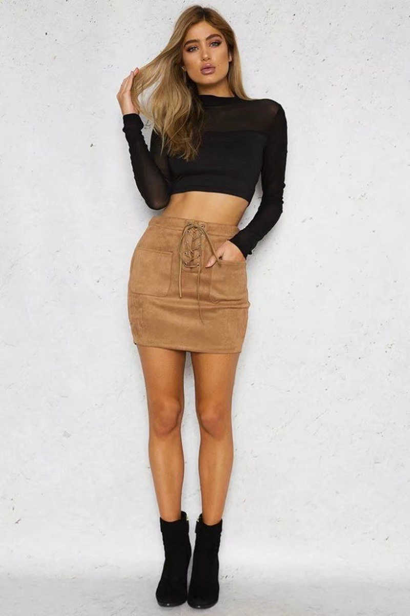 d59194e2a35 Для женщин юбка Bandge кожа Высокая талия облегающая юбка-карандаш короткие  однотонные мини юбки