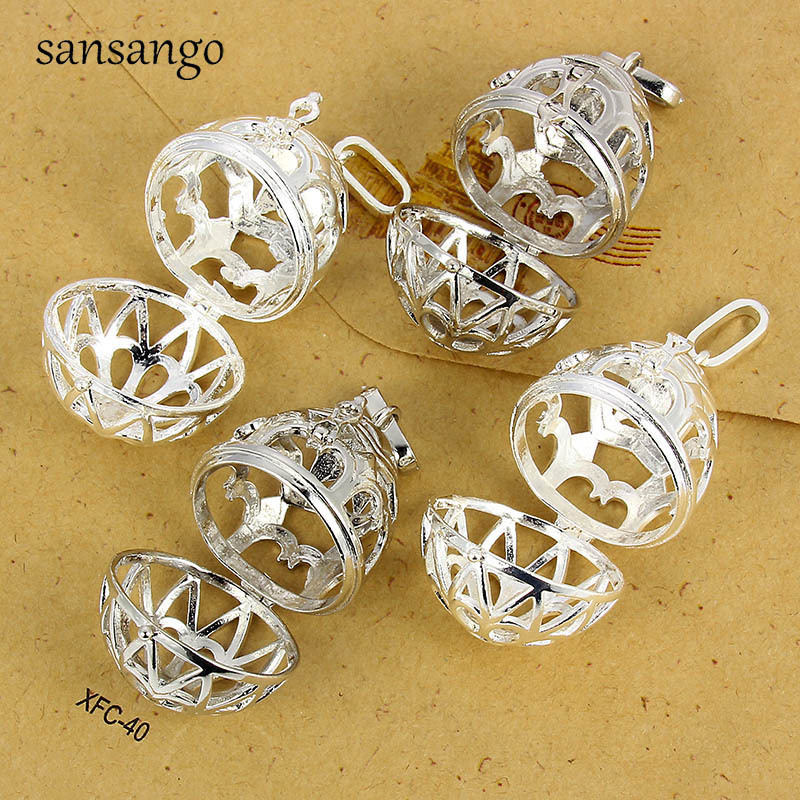 DIY 1PCS Cages Hollow Ball Alloy Charms Beads Pendants Necklace Jewelry Making