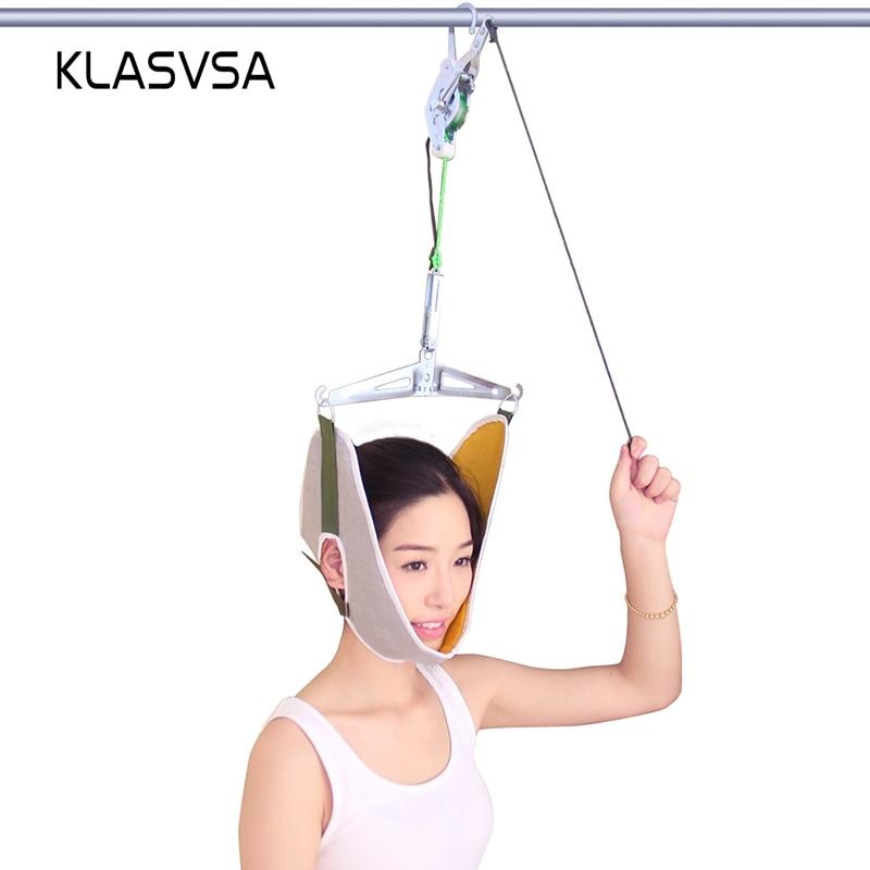 KLASVSA Neck Massager Cervical Traction Device Kit Neck Back Stretcher Adjustment Chiropractic Back Head Massager relaxation