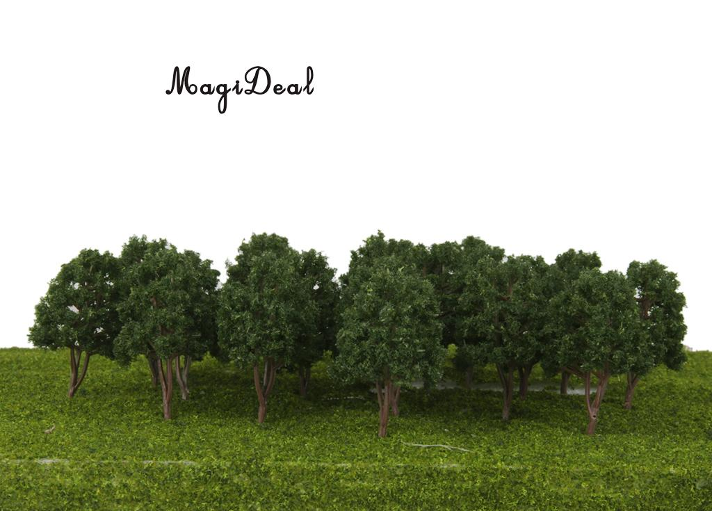 MagiDeal 20Pcs/Pack Dark Green Model Trees N Scale Train Park Railroad Railway Layout Wargame Scenery Scene Diorama Toys 7.5cm