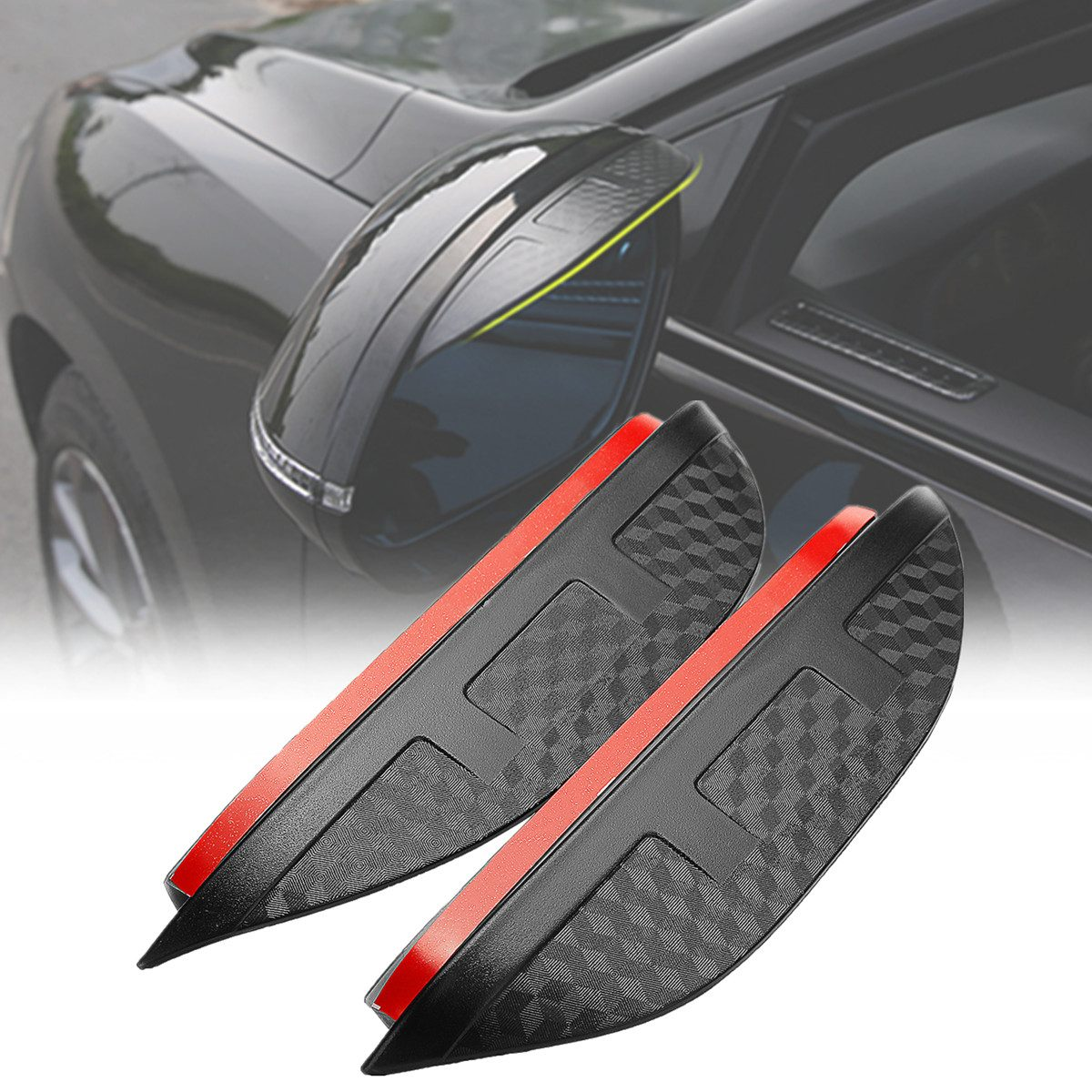 2X Car Rearview Mirror Sun Visor Shade Shield Rain Eyebrow Guard For Toyota-C-HR Carbon Fiber Type Plastic 195x45mm Embossed