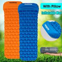 Naturehike Nylon TPU Sleeping Pad Wave Shape Orange/Blue Portable Breathable Washable Inflatable Mat Waterproof With Pillow