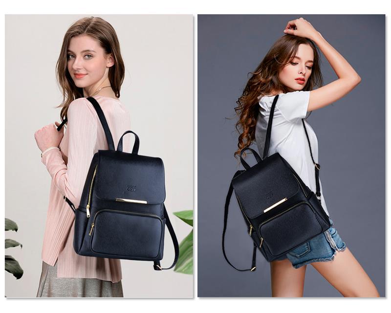 2019 Design concis femmes sac à dos loisirs PU cuir école sac à dos pour filles adolescentes femmes sacs à dos voyage noir sac à dos
