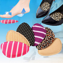 4D Memory Cotton Polka Dot Leopard Striped Forefoot Insoles Soft Women's High Heel Foot Protection Anti-Slip Shoe Inserts Soles(China)