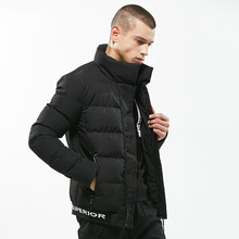 2019 New  Fashion bomber jacket Brand clothing Parka Men Stand Collar Solid Jacket Badge Letter Designs Warm Winter Jacket Men
