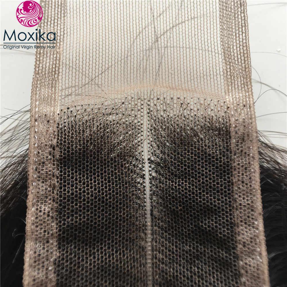 Moxika волосы бразильские прямые волосы пучки с парик с пробором посередине 2*6 4 шт Remy человеческие волосы пучки с Ким К закрытие