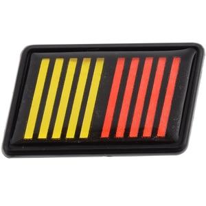 Nova chegada 55x35mm vermelho amarelo preto ralliart listra grille emblema emblema estilo do carro para mitsubishi