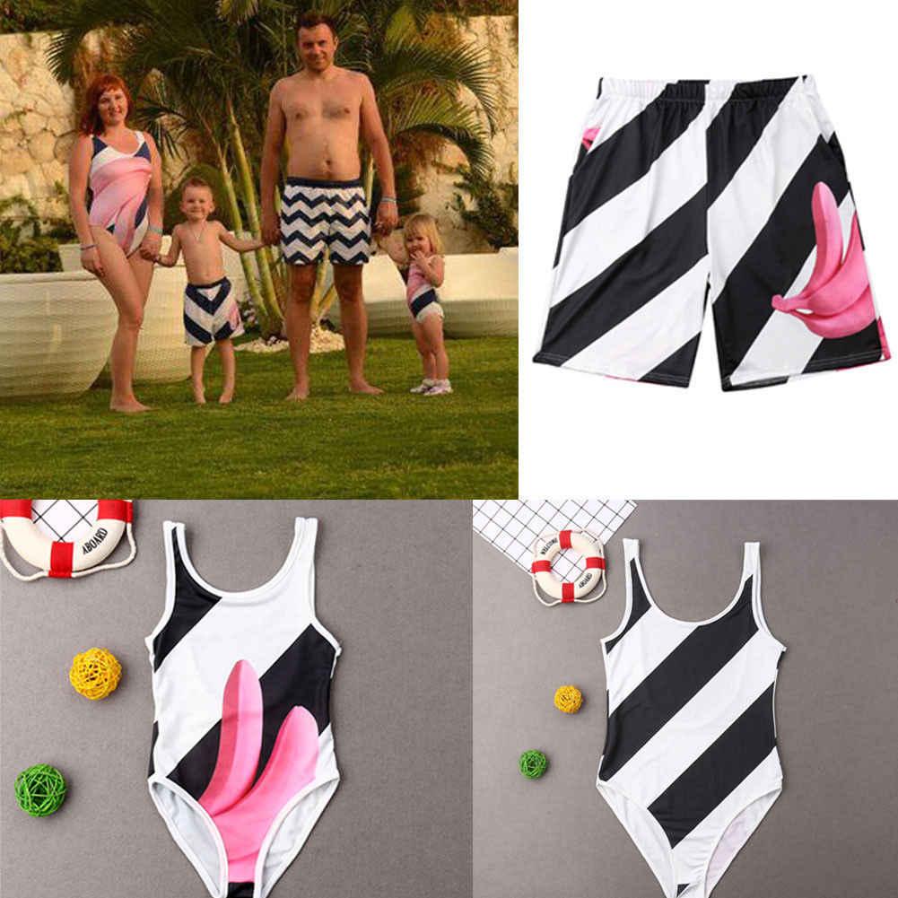 b0e38f26cd Striped Banana Family Mother Father Boys Girls Matching Swimsuit Swimwear  Bikini Bathing Sui