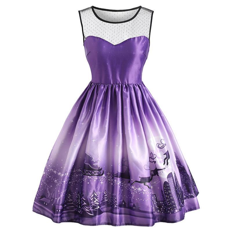 Retro 1950s Hepburn Style Christmas Starry Snowflake Lace Stitching Sleeveless Large Swing Vintage Dress Hepburn Style