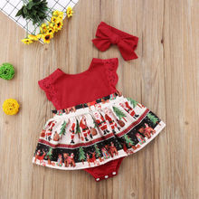 Baby Girls Romper Dress+Headband Christmas Party Outfit