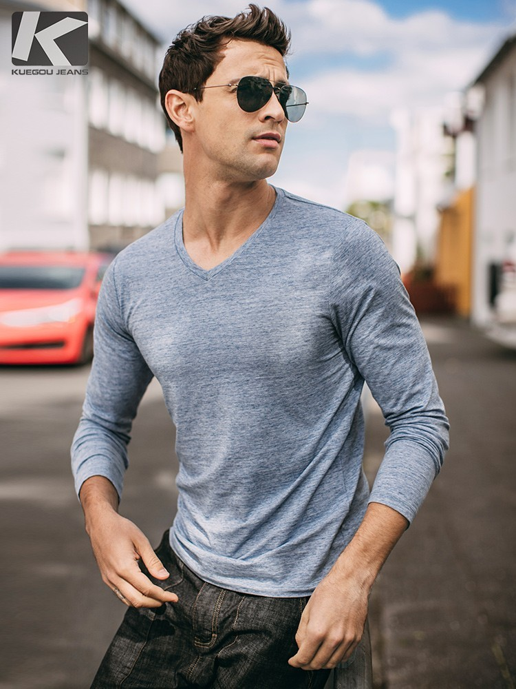 Autumn Men T Shirt Cotton V-Neck Blue Color For Man Casual Long Sleeve Slim Fit T-Shirt Male Wear 2018 New Tops Tee Shirt 268 1