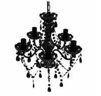 VidaXL lustre avec 5 ampoules cristal noir en cristal de bonne qualité belles suspensions d'intérieur pour hôtel maison