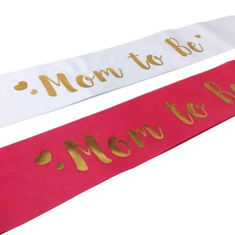 Mom To Be Sash Satin With Gold Glitter Fonts For Pregnant Woman Baby Shower Party Supplies