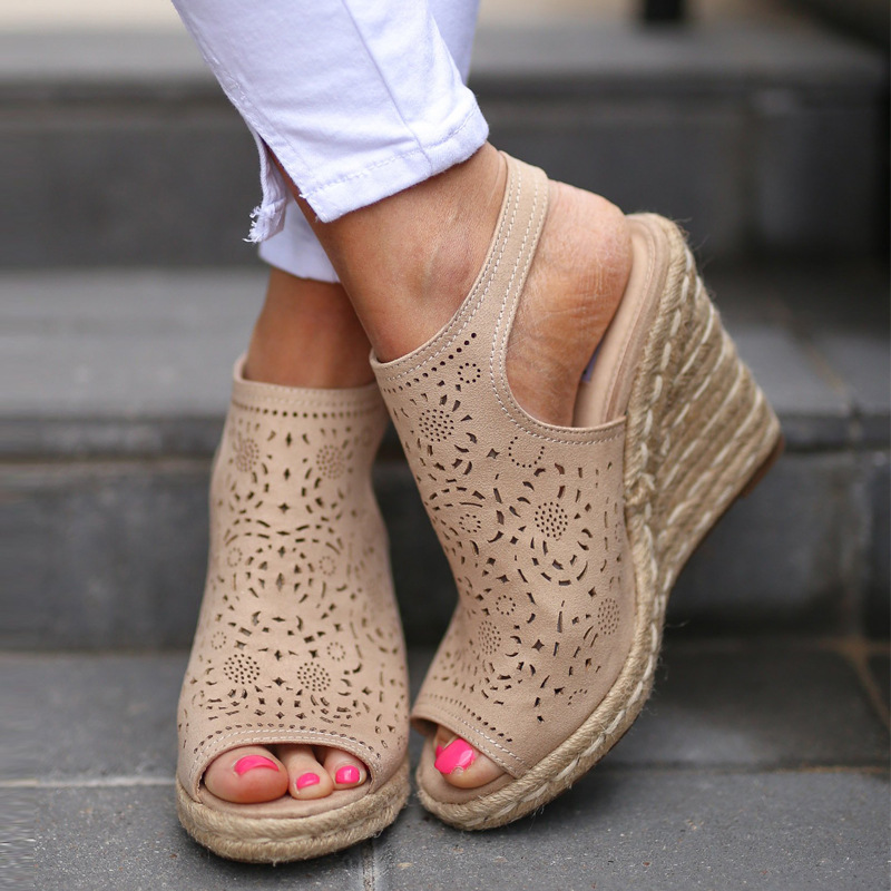 Carole Levy 2019 New Fashion Woman Wedges Shoes For Spring Summer Sandals Beige High Heel For Party Sandals Hollow carved design