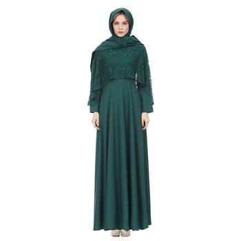 ba48106716a0 2018 арабское платье Ислам мусульманских Турецкая одежда кружева с длинным  ...