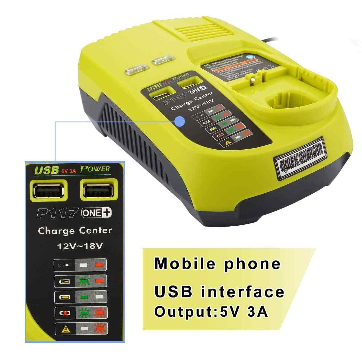 OPQ-3A 12V 14.4V 18V Ryobi P117 şarj edilebilir pil Şarj Cihazı Pil Paketi Güç Aracı Ni-cd Ni-Mh li-Ion P110, p111, P107, P