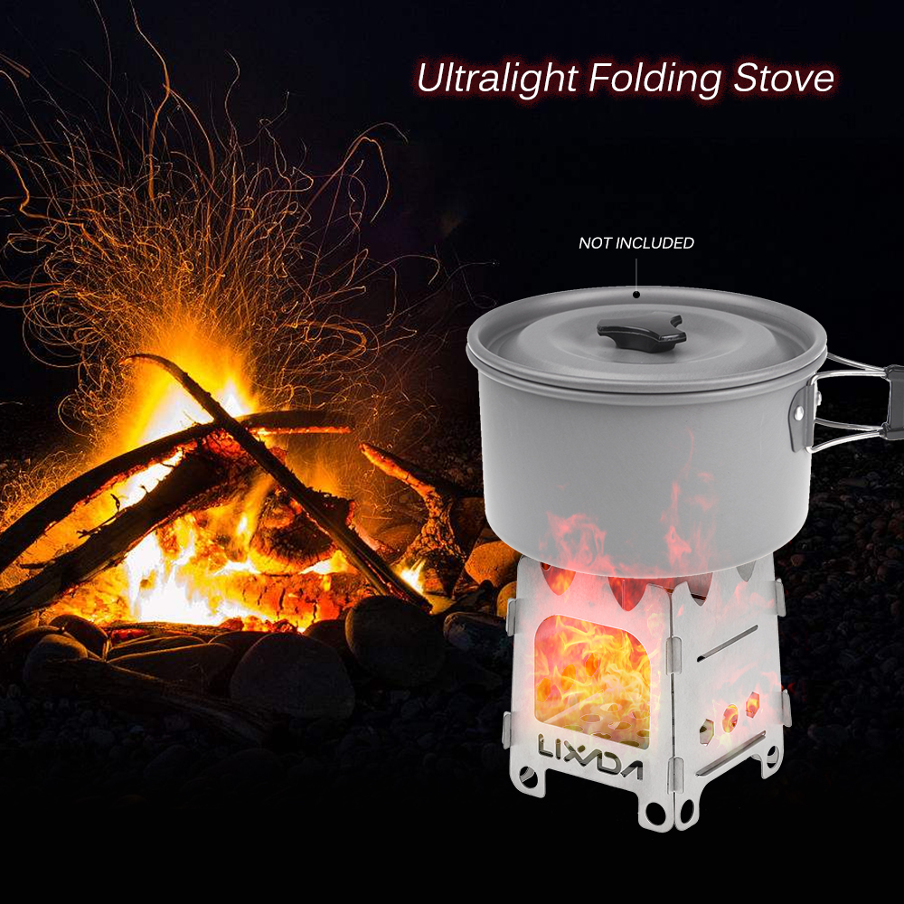 Lixada Outdoor Camping Stove Tray Ultralight Stainless Steel Pocket Burner for Picnic Hiking Folding Wood Stove with Alcohol in Outdoor Stoves from Sports Entertainment