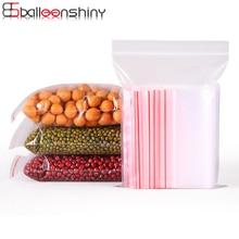 BalleenShiny PE 5 Wire 100pcs/set Storage Bags Transparent Ziplock Valve Pouch Food Gadgets Organizer Plastic Package Pocket