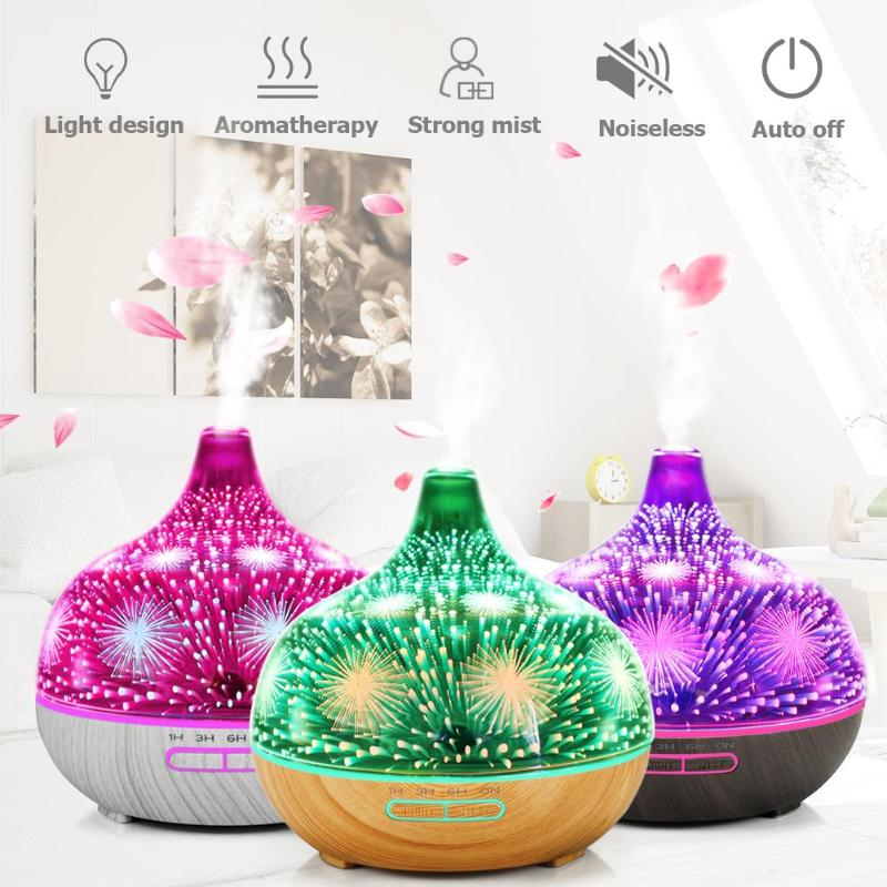 400ml Home 3D Glass+Wood Grain 7 Color Ultrasonic LED Timer Air Humidifier Aromatherapy Essential Oil Mist Aroma Diffuser