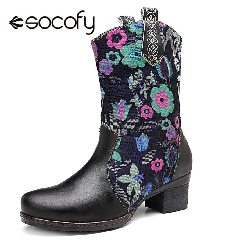 Socofy Retro Bohemian Western Cowboys Boots For Women Shoes Woman Winter Mid-calf Boots Genuine Leather Ladies Shoes Booties NewSocofy Retro Bohemian Western Cowboys Boots For Women Shoes Woman Winter Mid-calf Boots Genuine Leather Ladies Shoes Booties New