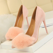 купить Woman Pumps High Heels Shoes Fashion Wedding Dress Party Shoes With Rabbit Pointed Toe Suede Nubuck Leather Thin Heel DS-A0124 по цене 1862.41 рублей