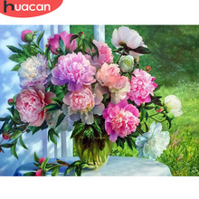Huacan 3D DIY Diamond Embroidery Flowers Picture of Rhinestones Painting Cross Stitch Peony Needlework Gift Wall Decor