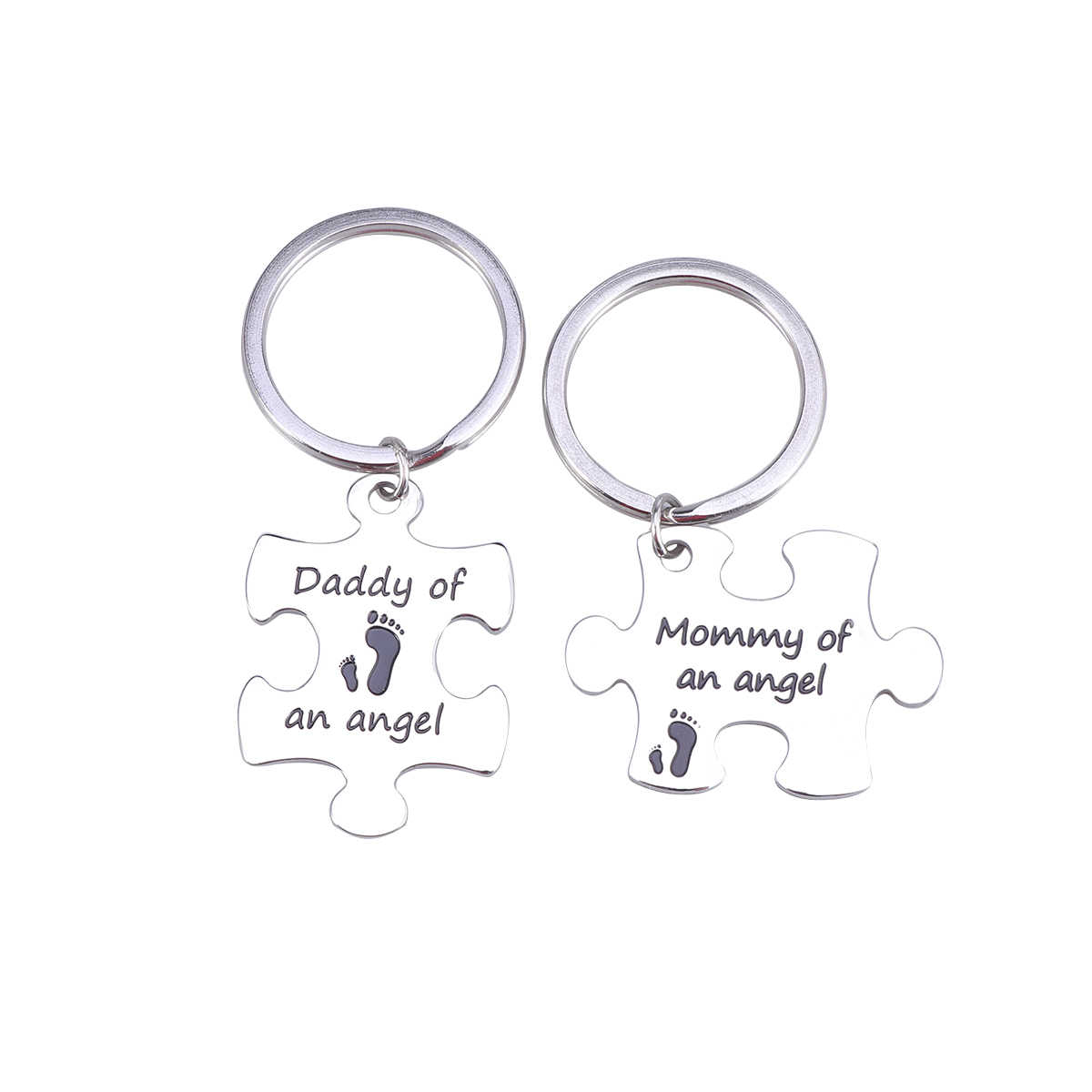 2-Piece Puzzle Nickle-free Eco-friendly Mommy Daddy of an Angel Keychain Set Miscarriage Jewelry Baby Memorial Gift