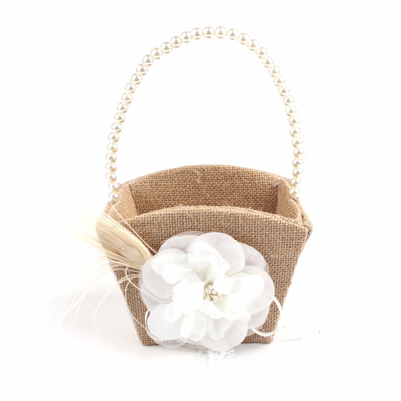 Wedding Burlap Hessian Shabby Chic Flower Girl Basket Wood Heart Decor